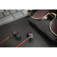Ducati ® Official i-02 Deluxe Metallic High Fidelity 102dB In-Ear Headphones + Mic + Remote with Gold-plated Jack Earphone Black