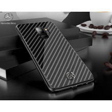 Mercedes Benz ® Samsung Galaxy S9 Classy Carbon Fiber Raven leather Back Cover