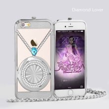 Diamond Lover ® Apple iPhone 6 / 6S Ultra Luxury Crystal + Diamond Metal Bumper with Pearl Chain Back Cover