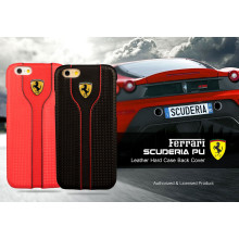 Ferrari ® Apple iPhone 6 Plus / 6S Plus Official Scuderia Logo Double Stitched Dual-Material PU Leather Back Cover
