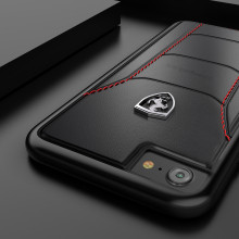 Ferrari ® Apple iPhone 7 Official 488 GTB Logo Double Stitched Dual-Material Pure Leather Back Cover