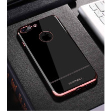 Shengo ® Apple iPhone 7 Plus Onyx Black Liner Series 2K Electroplated Finish Logo Display TPU Back Cover