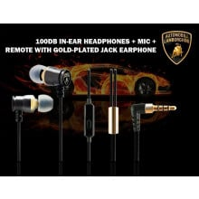 Lamborghini ® Official Huracan LP Deluxe Metallic High Fidelity 100dB In-Ear Headphones + Mic + Remote with Gold-plated Jack Earphone Black
