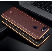 Vaku ® OPPO F9 / F9 Pro Vertical Leather Stitched Gold Electroplated Soft TPU Back Cover