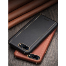 Vorson ® Apple iPhone 8 Plus Trak Series Sport Textured Leather Dual-Stitching Metallic Electroplated Finish Back Cover