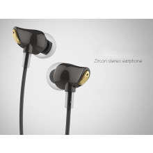 Rock ® Nano Zircon Stone Crystal 3.5mm Stereo Earphone + Mic + Control with Gold Plated Jack Earphone