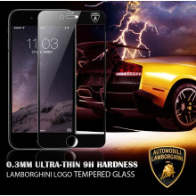 Lamborghini ® Apple iPhone 6 / 6S Official Full Coverage 0.3mm Ultra-thin 9H Hardness with Lamborghini Logo Tempered Glass