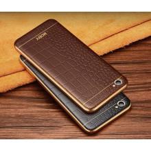 VAKU ® VIVO V5 / V5S European Leather Stiched Gold Electroplated Soft TPU Back Cover