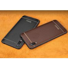 Vaku ® Vivo X21 Leather Stitched Gold Electroplated Soft TPU Back Cover