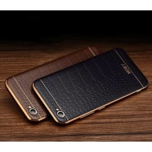 VAKU ® OPPO F1S European Leather Stiched Gold Electroplated Soft TPU Back Cover