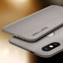 Vaku ® Xiaomi Redmi Note 6 Pro Luxico Series Hand-Stitched Cotton Textile Ultra Soft-Feel Shock-proof Water-proof Back Cover
