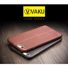 Vaku ® VIVO V5 / V5s Lexza Series Double Stitch Leather Shell with Metallic Logo Display Back Cover