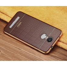VAKU ® XIAOMI Redmi Note 3 European Leather Stiched Gold Electroplated Soft TPU Back Cover