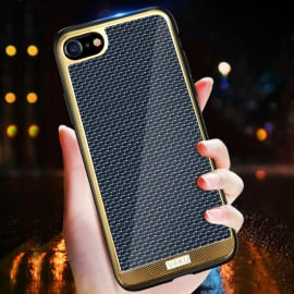VAKU ® Apple iPhone 8 Colored Carbon Fiber with Golden Electroplated layering hard PC Back Cover