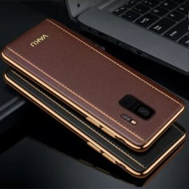 Vaku ® Samsung Galaxy S9 Vertical Leather Stitched Gold Electroplated Soft TPU Back Cover