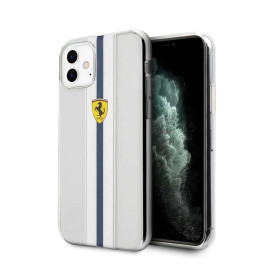 Ferrari ® For Apple iPhone 11 Pista Blue Stripe Clear series Back Cover