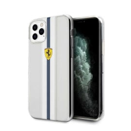 Ferrari ® For Apple iPhone 11 Pro Pista Blue Stripe Clear series Back Cover