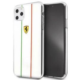 Ferrari ® Apple iPhone 11 Pro Max Fiorano White Stripe Clear series Back Cover