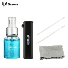 Baseus ® Professional 4-in-1 Cleaning Kit with Cleaner + Brush + Micro Fiber Cloth + Gap Stick Cleaning Kit Black