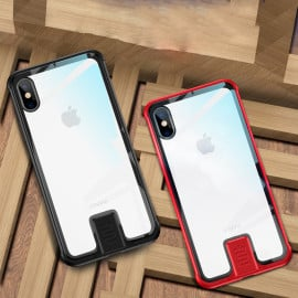 Vaku ® Apple iPhone X / XS Metal Slider Toughened Glass Finish Back Cover