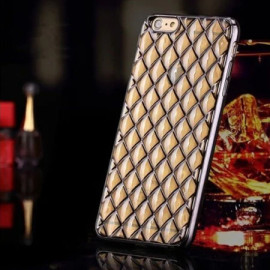 MeePhone ® For Apple iPhone 6 / 6S Diamond Cube 4D Reflective Luxury Gold Electroplated Soft TPU Gel Back Cover