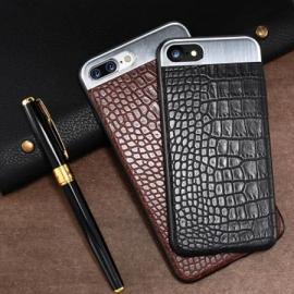 Comma ® Apple iPhone 8 Plus Luxurious Crocodile Leather Metallic Structural Shine Finish Back Cover