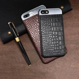 Comma ® Apple iPhone 7 Plus Luxurious Crocodile Leather Metallic Structural Shine Finish Back Cover
