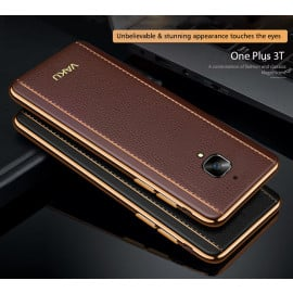 VAKU ® Oneplus 3 / 3T Vertical Leather Stitched Gold Electroplated Soft TPU Back Cover