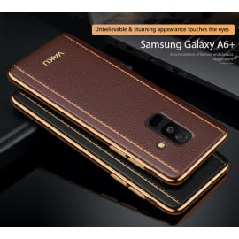 Vaku ® Samsung Galaxy A6 Plus Vertical Leather Stitched Gold Electroplated Soft TPU Back Cover