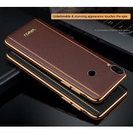 Vaku ® Xiaomi Redmi Note 7 / Note 7 Pro / Note 7S Vertical Leather Stitched Gold Electroplated Soft TPU Back Cover
