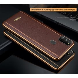 Vaku ® Samsung Galaxy M30s Vertical Leather Stitched Gold Electroplated Soft TPU Back Cover