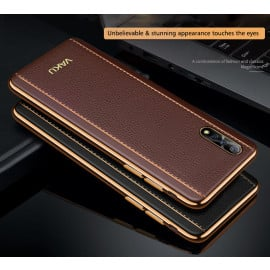 Vaku ®  Vivo S1 Vertical Leather Stitched Gold Electroplated Soft TPU Back Cover