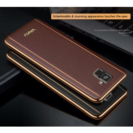 Vaku ® Samsung Galaxy A8 Plus Vertical Leather Stitched Gold Electroplated Soft TPU Back Cover