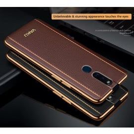 Vaku ® Oppo F11 Pro Vertical Leather Stitched Gold Electroplated Soft TPU Back Cover
