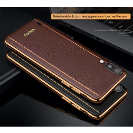 Vaku ® Samsung Galaxy M10 Vertical Leather Stitched Gold Electroplated Soft TPU Back Cover