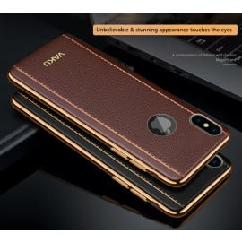 VAKU ® Apple iPhone XS Max Vertical Leather Stitched Gold Electroplated Soft TPU Back Cover