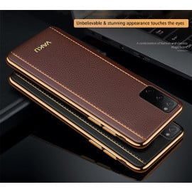 Vaku ® Samsung Galaxy S20 Vertical Leather Stitched Gold Electroplated Soft TPU Back Cover