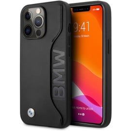 BMW ® For iPhone 13 Pro Max Real Leather Debossed Wordmark  Tone On Tone Stitchings with Cardslot Back Cover - Black