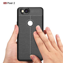 Vaku ® Google Pixel 2 Kowloon Double-Stitch Edition Silicone Leather Texture Finish Ultra-Thin Back Cover