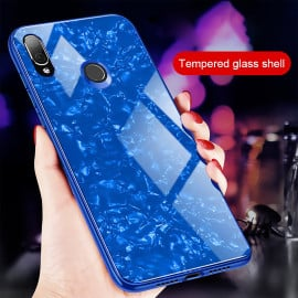 VAKU ® Xiaomi Redmi Note 7 / Note 7 Pro Glossy Marble with 9H hardness tempered glass overlay Back Cover