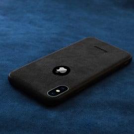 VAKU ® Apple iPhone XS Max Alcantara Super Suede Logo Cut Leather Cover