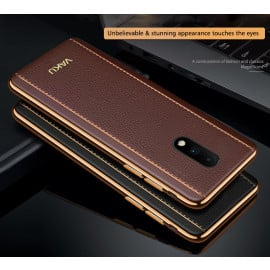 Vaku ® Oneplus 7 Vertical Leather Stitched Gold Electroplated Soft TPU Back Cover