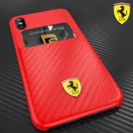 Ferrari ® Apple iPhone X SP America series Carbon fibre finish - inbuilt Credit card holder back cover