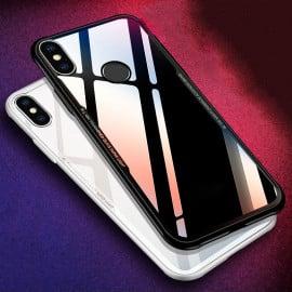 Vaku ® Xiaomi Redmi Note 5 Pro GLASSINO Luxurious Edition Ultra-Shine Silicone Frame Ultra-Thin Case Transparent Back Cover