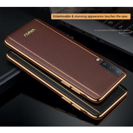 Vaku ® Samsung Galaxy A7 (2018) Vertical Leather Stitched Gold Electroplated Soft TPU Back Cover