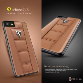 Ferrari ® Apple iPhone 8 Official 458 Double Stitched Dual-Material PU Leather Back Cover