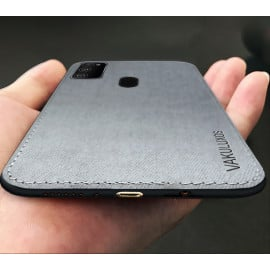 Vaku ® Samsung Galaxy M30s Luxico Series Hand-Stitched Cotton Textile Ultra Soft-Feel Shock-proof Water-proof Back Cover