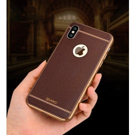 Vaku ® Apple iPhone X Leather Stitched Gold Electroplated Soft TPU Back Cover