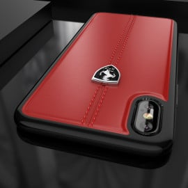 Ferrari ® Apple iPhone XS Max Vertical Contrasted Stripe - Material Heritage leather Hard Case back cover