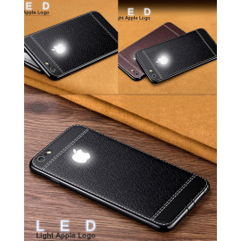 VAKU ® Apple iPhone 7 Leather Stitched LED Light Illuminated Logo 3D Designer Case Back Cover